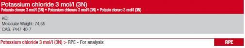 Soluzione KCl 3M 250ml - 1Pz